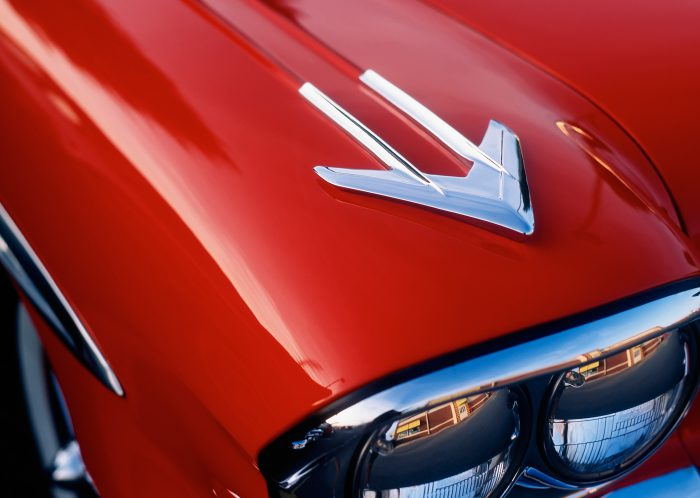 classic-red-american-car-closeup