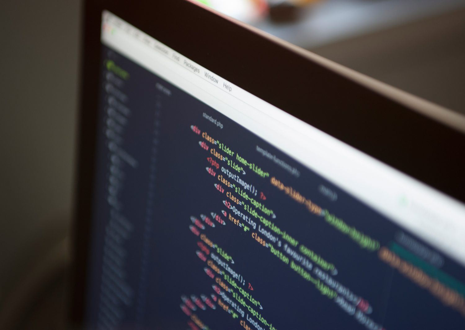 On Screen Close Up of A HTML Code