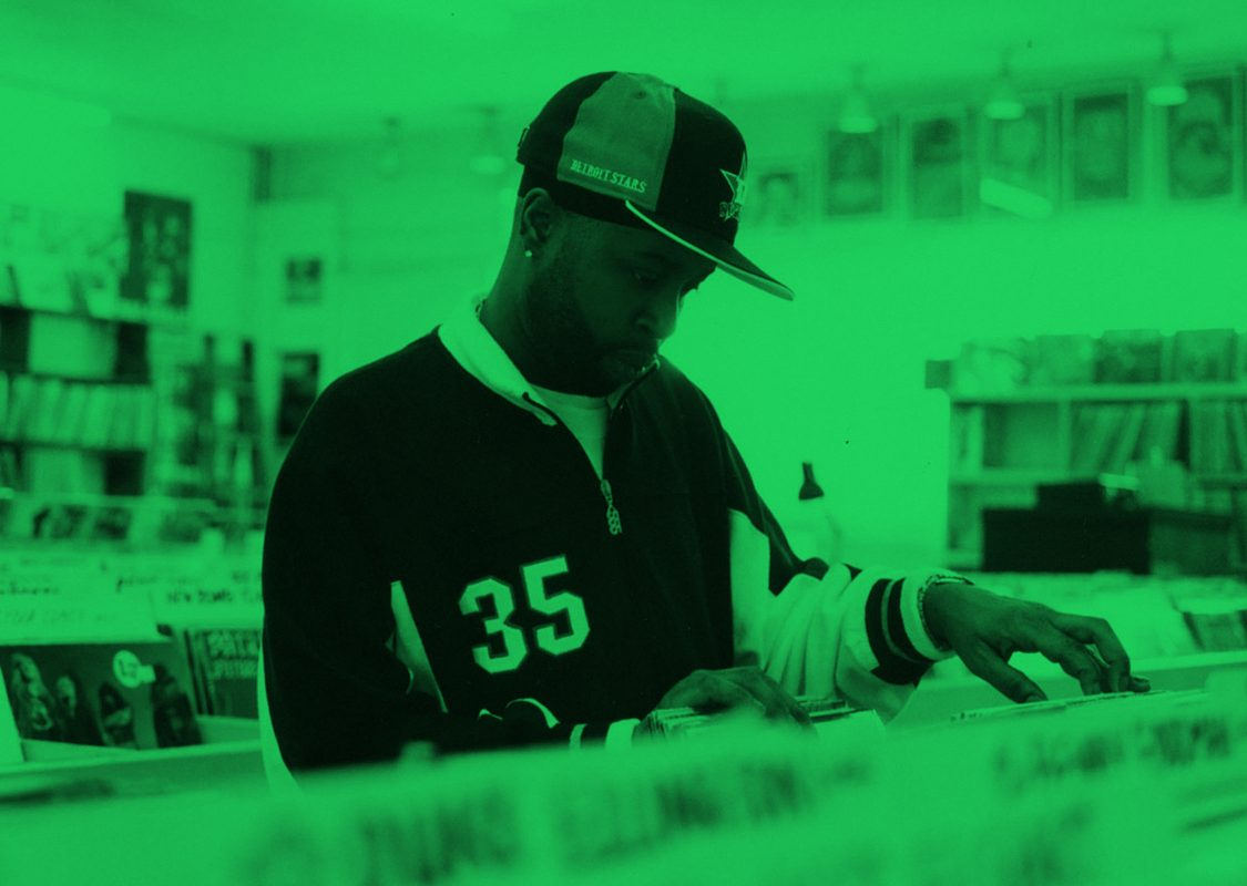 Record store shopping with a green filter
