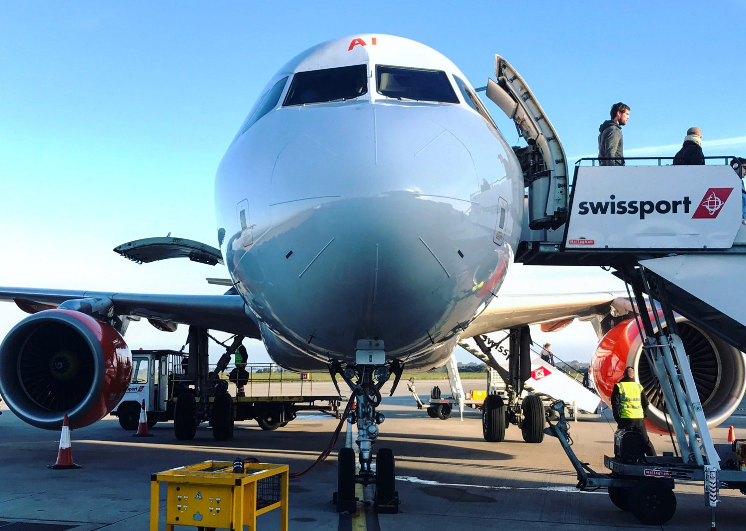 Airplane unloading at Swissport