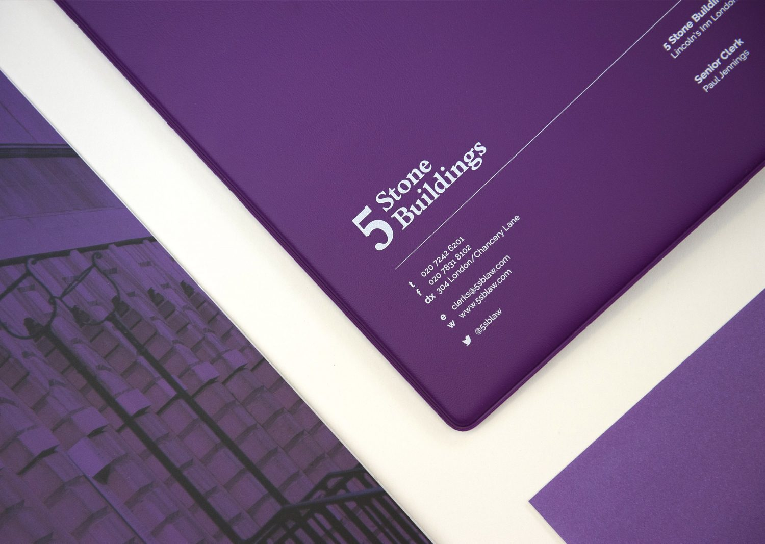 5 Stone Buildings graphic design layout
