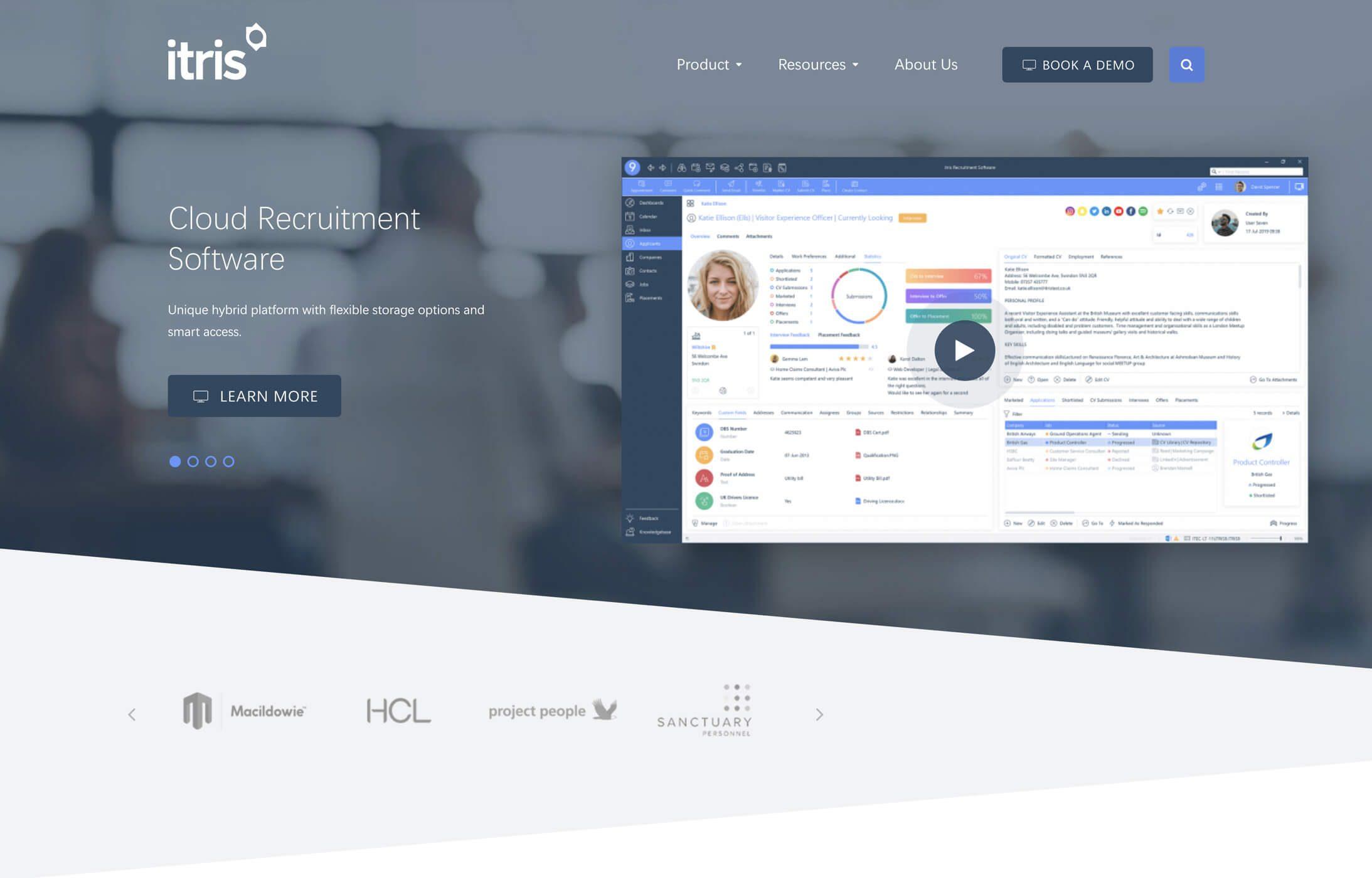 Itris recruitment website visual
